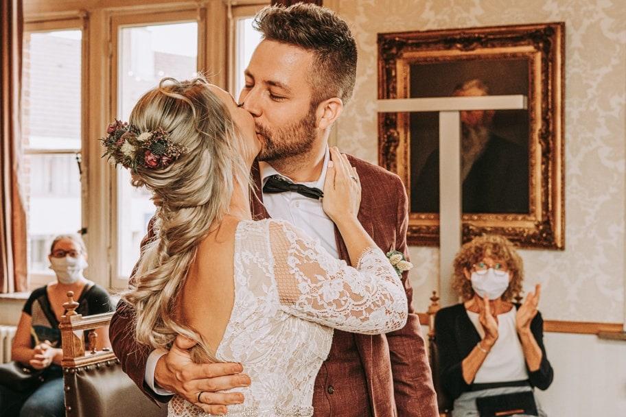 De bruid en bruidegom zeiden ja